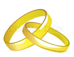 2 wedding rings two linked gold wedding rings vector illustration stock vector