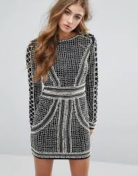 embellished dress missguided missguided peace pearl embellished mini dress