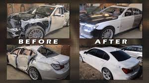 watch this russian body shop completely repair a totaled bmw 7