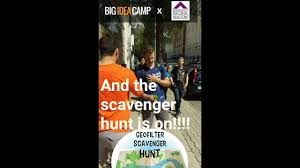 big idea camp 2016 day 3 snapchat geo filter scavenger hunt youtube