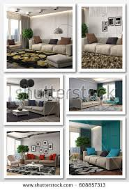 home interior ls collage modern home interior 3d illustration stock illustration