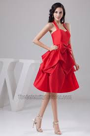 red knee length halter taffeta cocktail party graduation dresses