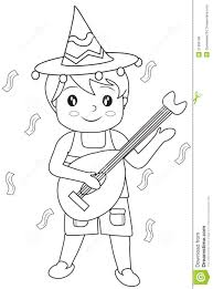 boy with a guitar coloring page stock illustration image 51089186