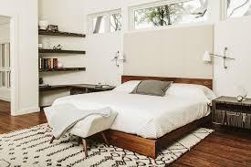 Clearstory Windows Decor Platform Bed Mid Century Bedroom Midcentury With Floating Shelves