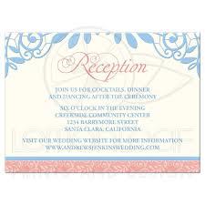 wedding reception card coral powder blue lace wedding reception card