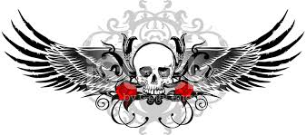 black wing skull with flourishes and roses stock vector freeimages com