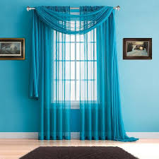 Sheer Blue Curtains Faux Linen Curtains And Sheer Window Scarves In 2 Colors U0026 3 Sizes