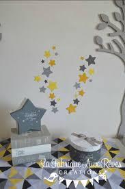 theme etoile chambre bebe lot stickers étoiles jaune citron moutarde soleil gris foncé gris