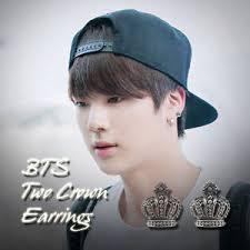 bts earrings bts jin two crown earrings kpop style earring made in korea 1pair ebay