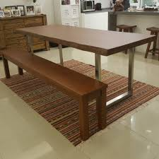 Indoor Teak Furniture Wood Dining Tables Single Slab Teak Wooden Tables Suar Benches