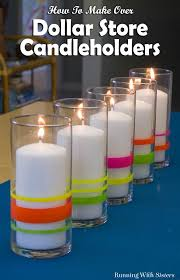 neon lights dollar store candle holders running with