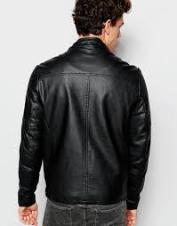 leather racing jacket asos faux leather racing biker with quilting in black in black for