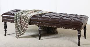 Leather Ottoman Bench Best Selling Hastings Brown Tufted Leather Ottoman