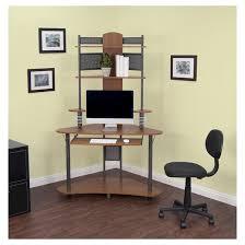 Corner Desks With Storage Arch Corner Desk With Multi Level Storage Pewter Teak Target
