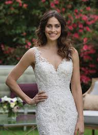 a v neck fit and flare tulle gown with beaded lace appliques
