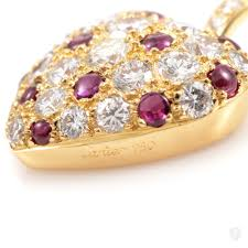 cartier heart diamond necklace images Jewelry cartier cartier 18k yellow gold diamond ruby pave heart