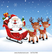santa claus reindeer christmas sleigh stock illustration 297450269