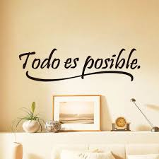 everything is possible spanish inspiring quotes wall sticker home everything is possible spanish inspiring quotes wall sticker home decor bedroom kids vinyl wall mural decal
