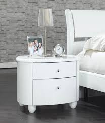 round white lacquer nightstand with double drawers and four legs