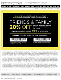 offer discounts and promo codes bloomingdales friends family 20 discount coupon promo code