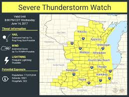 Local Weather Map Severe Thunderstorm Watch Issued For Most Of Wisconsin Until 8
