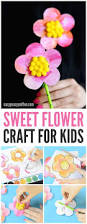 sweet flower craft with pom poms and printable template easy