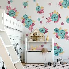 gold purple graphic flower clusters floral wall decals