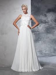 high neck wedding dresses a line princess sleeveless chiffon pleats high neck court