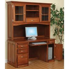 Computer Desk With Doors Computer Desk And Hutch With Glass Doors Amish Handcrafted Solid