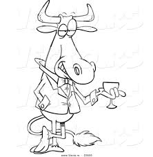 vector of a cartoon sophisticated bull with wine coloring page