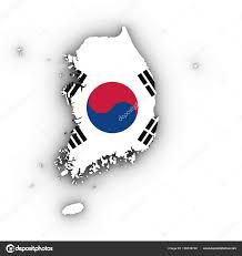 Korea Flag Image South Korea Map Outline With South Korean Flag On White With Sha