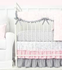 Damask Crib Bedding Sets Caden Pink Grey Damask Crib Bedding Set With Sheet Skirt