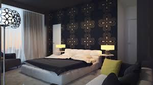 top modern bedroom with one wall covered in gray wallpaper with
