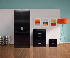 Black High Gloss Bedroom Furniture by High Gloss Bedroom Furniture Set 2 Door Wardrobe Tallboy Chest