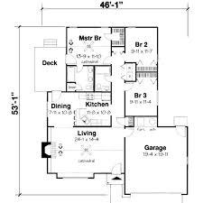 3 bedroom bungalow floor plan 1346 sqaure feet 3 bedrooms 2 bathrooms 1 garage spaces 47 width