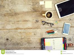 Office Desk Top View Desktop Mix On A Wooden Office Table Stock Photo Image 49423485