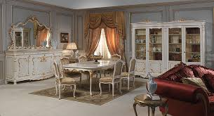 living room with venice glass showcase in louis xv style luigi xv style dining room carved table and chairs sideboard with big carved mirror