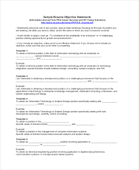 Objective Statement Examples For Resumes by 18 Sample Resume Objectives Free Sample Example Format Free