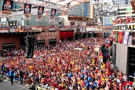 power and light restaurants kansas city iowa state fans crowd the power and light district and cheer during