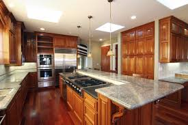 kitchen nice chic varnished wooden cabinet ideas nice chic varnished wooden kitchen cabinet ideas stainless steel microwaves refrigerator marble countertop bar breakfast backsplash gas stove