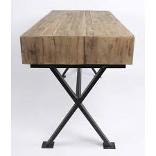 bureau industriel metal bois bureau industriel bois 3 tiroirs pieds métal