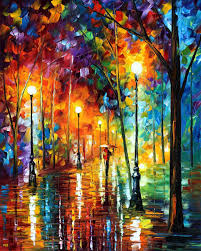 Colorful City Late Stroll 2 U2014 Palette Knife Oil Painting On Canvas By Leonid