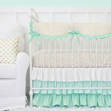 Mint Green Crib Bedding Caden Mint And Gold Dot Ruffle Baby Bedding Mint And Gold