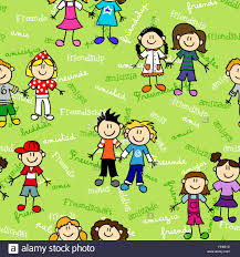 seamless cute kid cartoon characters pattern with friendship