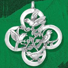 and hammer four calling birds silver ornament