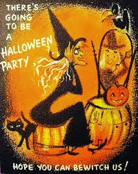 vintage halloween party card oh i love the kitschy witchy
