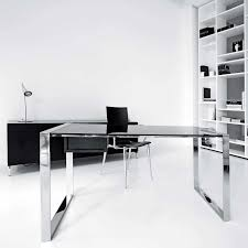 Home Office Glass Desks Attractive Modern Office Desk Design Created With Glass Table