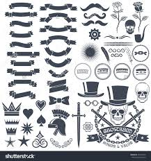 set for the logo design in vintage style with skull retro save to