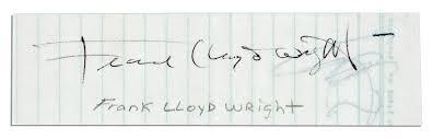 Architect Signature Lot Detail Frank Lloyd Wright Signature Idolza
