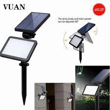 48 led solar spotlight landscape lighting wall in ground 960 lms